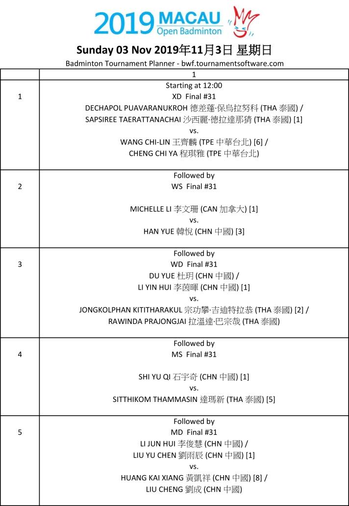 3rd oop Macau Open 2019